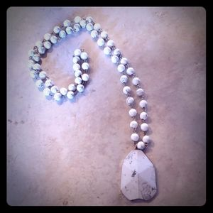White beaded natural stone necklace